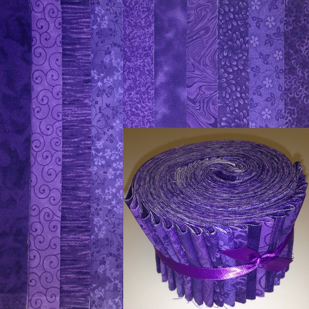 "10 Basic Colors colors - purple 2.5"" roll - 10 fabrics, 20 total strips"