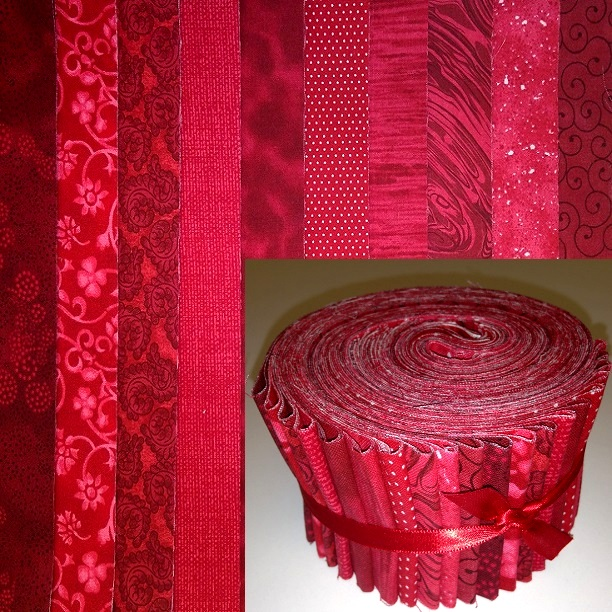 "10 Basic Colors colors - red 2.5"" roll - 10 fabrics, 20 total strips"