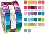 Robert Kaufman Kona Cotton 2014 New Colors Palette Roll-up - 40 Strip Roll