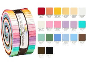 Robert Kaufman Kona Cotton Darlene Zimmerman 30's Palette Roll-up - 40 Strip Roll