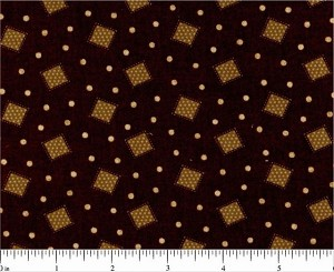 (2 yd) Fabri-Quilt/Paintbrush Studios Lauren Tossed Squares Dark Brown