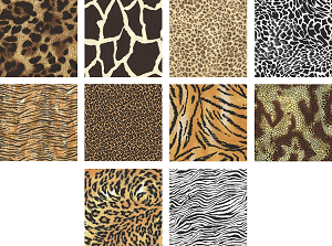 "Charm Pack 5x5 Squares - Animal Prints - 40 5"" Squares"