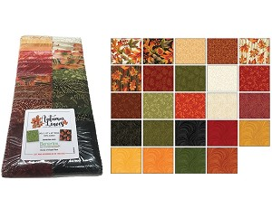"Benartex Autumn Leaves Strip-pies - 40 2.5"" Strips Flat Pack"