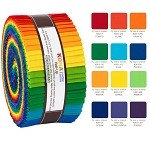 Robert Kaufman Kona Cotton Bright Rainbow Palette Roll-up - 40 Strip Roll