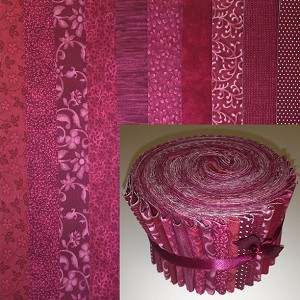 "Basic Colors - Burgundy 2.5"" Roll - 10 Fabrics, 20 Total Strips"