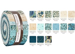 Robert Kaufman Calista Teal By Studio RK Roll-up - 40 Strip Roll