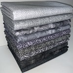 Charcoal/Ash Half-yard Bundle - 10 Fabrics,5 Total Yards
