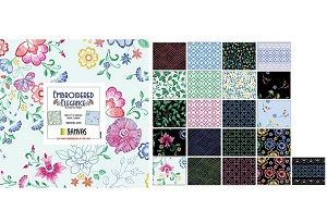 "Charm Pack 5x5 Squares - Benartex Embroidered Elegance - 40 5"" Squares"