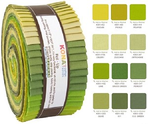 Robert Kaufman Kona Cotton Grasslands Roll-up - 40 Strips