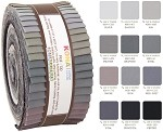 Robert Kaufman Kona Cotton Gray Area Palette Roll-up - 40 Strip Roll