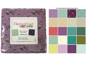 "Charm Pack 5x5 Squares - Benartex Homestead Country - 40 5"" Squares"