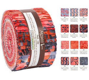 Robert Kaufman Artisan Batik Helsinki Watermelon Roll-up - 40 Strip Roll