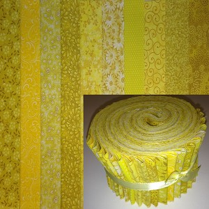 "Basic Colors - Yellow 2.5"" Roll - 10 Fabrics, 20 Total Strips"