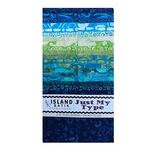 Island Batik - Just My Type - 20 Fabrics, 40 Total Strips