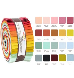 Robert Kaufman Kona Cotton Pond Coordinates Roll-up - 40 Strip Roll