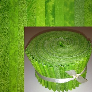"Basic Colors - Lime 2.5"" Roll - 10 Fabrics, 20 Total Strips"