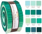 Robert Kaufman Kona Cotton Lush Lagoon Palette Roll-up - 40 Strip Roll