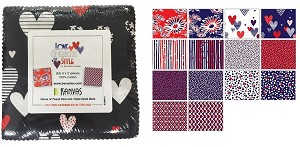 "Charm Pack 5x5 Squares - Benartex Love American Style - 40 5"" Squares"