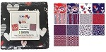 Charm Pack 5x5 Squares - Benartex Love American Style - 40 5