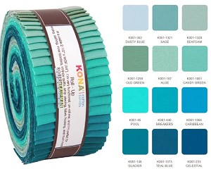 Robert Kaufman Kona Cotton Midnight Oasis Palette Roll-up - 40 Strip Roll