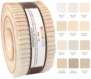 Robert Kaufman Kona Cotton Not Quite White Roll-up - 40 Strip Roll
