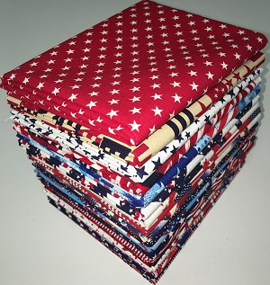 Patriotic Fat Quarter Bundle - 20 Fabrics, 20 Total Fat Quarters