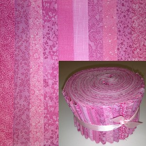 "Basic Colors - Pink 2.5"" Roll - 10 Fabrics, 20 Total Strips"