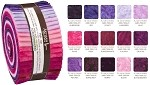 Robert Kaufman Artisan Batiks: Prisma Dyes, Plum Perfection Roll-up - 40 Total Strips
