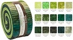 Robert Kaufman Artisan Batiks: Prisma Dyes, Rainforest Roll-up - 40 Total Strips
