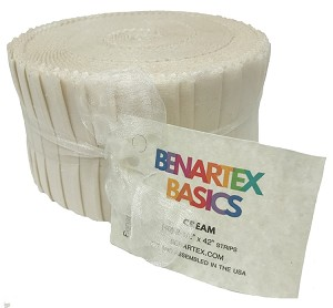 "Benartex Solid Cream - 40 2.5"" Strip Pinwheel"