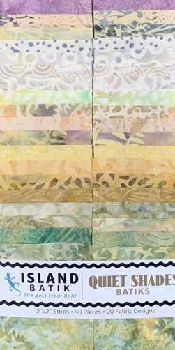 Island Batik - Quiet Shades  - 20 Fabrics, 40 Total Strips