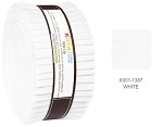 Robert Kaufman Kona Cotton Solid White Roll-up - 40 Strip Roll