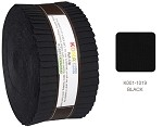 Robert Kaufman Kona Cotton Solid Black Roll-up - 40 Strip Roll