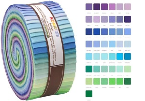 Robert Kaufman Kona Cotton Sunset Palette Roll-up - 43 Strip Roll