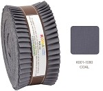 Robert Kaufman Kona Cotton Solid Coal Roll-up - 40 Strip Roll