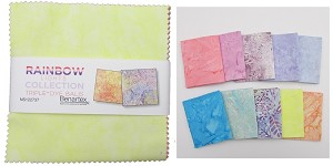 "Charm Pack 5x5 Squares - Benartex Light Rainbow Batik  - 40 5"" Squares"
