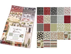 "Benartex Snow Village/Rustic Village Christmas Strip-pies - 40 2.5"" Strips Flat Pack"