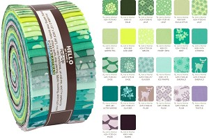 Robert Kaufman Terrarium Cool by Elizabeth Hartman Roll-up - 40 Total Strips