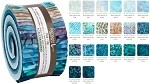 Robert Kaufman Artisan Batiks: Aqua Spa Roll-up - 40 Total Strips
