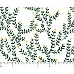 (2 yd) Andover Cat Nap Green Vine on White
