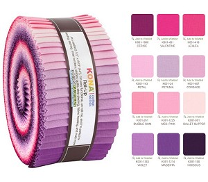 Robert Kaufman Kona Cotton Wildberry Palette Roll-up - 40 Strip Roll