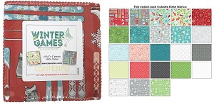 "Charm Pack 5x5 Squares - Benartex Winter Games - 40 5"" Squares"